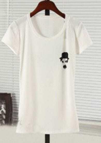 White CHARLIE CHARPIN Print Short Sleeve T-Shirt