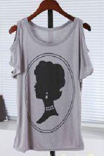 Grey Head Print Cut Out Shoulder Short Sleeve T-Shirt