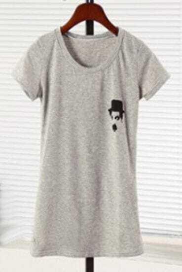 Grey CHARLIE CHARPIN Print Short Sleeve T-Shirt