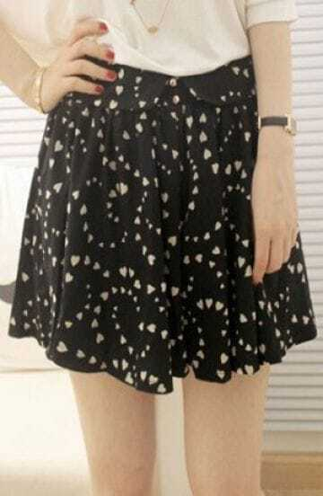 Black Heart Print Button Waist Skirt Shorts