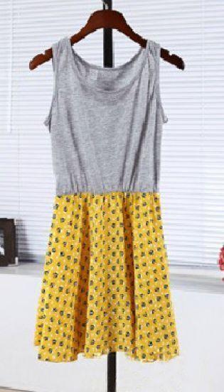 Yellow Sleeveless Owl Print Skater Tank Dress