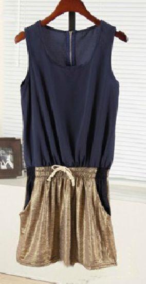 Navy Sleeveless Pockets Zip Back Drawstring Dress