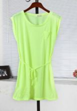 Neon Green Sleeveless Tie Front Pocket Shift Dress