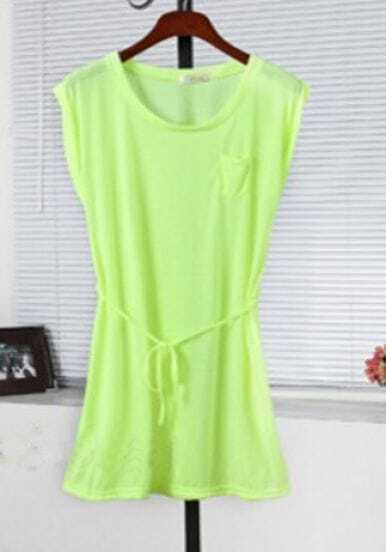 Neon Green Sleeveless Tie Front Pocket Shift Dress