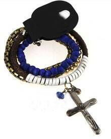 Blue Beading Chian Leather Cross Multilayer Bracelet