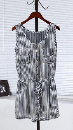 Navy Vertical Striped Sleeveless Pockets Drawstring Jumpsuit