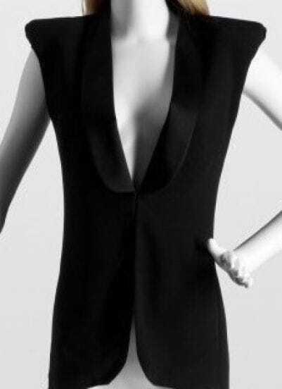 BlackPaddedShoulderSleevelessShawlCollarWaistcoat