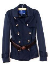 Navy Lapel Long Sleeve Double Breasted Outerwear