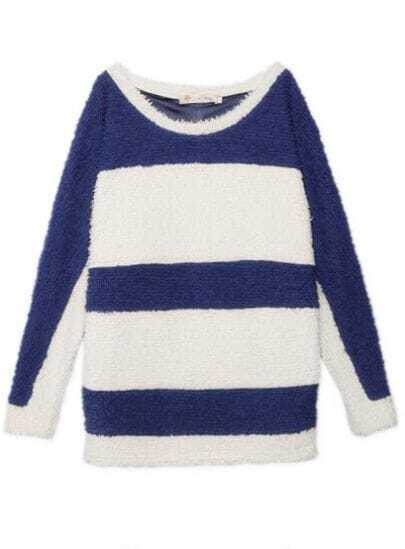 Blue White Round Neck Long Sleeve Striped Batwing Outerwear