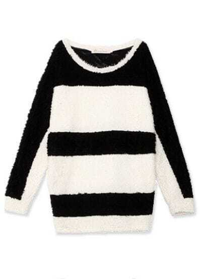 Black White Round Neck Long Sleeve Striped Batwing Outerwear