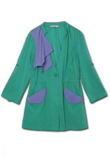 Green High Neck Long Sleeve Single Breasted Ruffles Polyester Outerwear