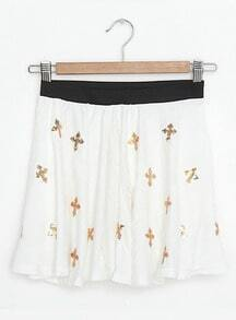 White Vintage Cross Print Sequined Low Waist Cotton Shorts