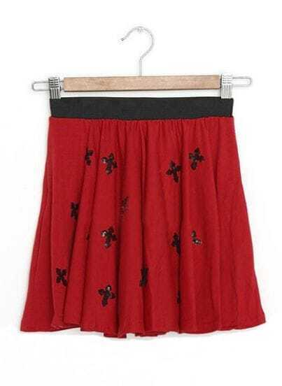 Red Vintage Cross Print Sequined Low Waist Cotton Shorts