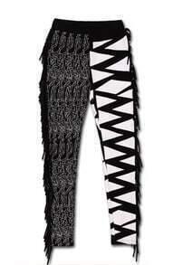 Black White Tassel Mid Waist Cotton Pant