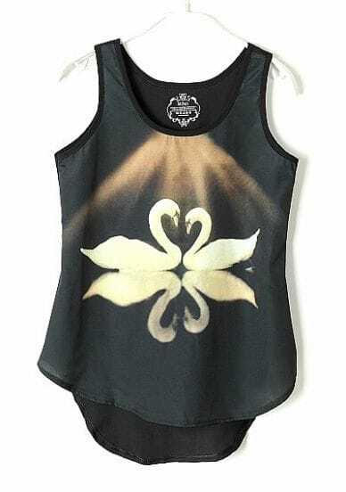 Black Round Neck Sleeveless Swan Print Asymmetrical Chiffon T-Shirt