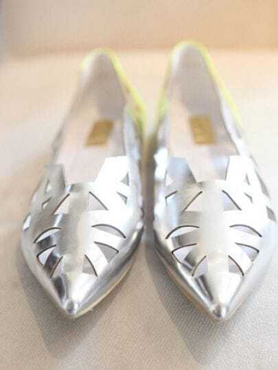 Silver Metallic Pointed Toe Cut Out Flat