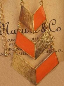 Fashion Orange Geometric Gold Necklace