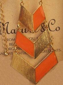 Fashion Orange Geometric Gold Necklace