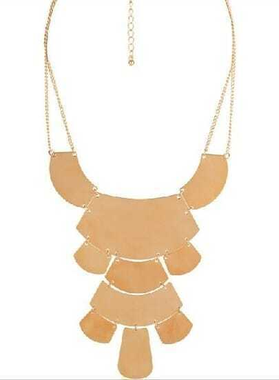 Gold Sheet Splice Abstract Necklace