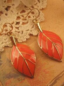 Orange Leaves Gold Dangle Earrings