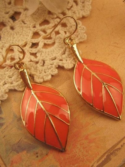 Orange Leaves Gold Dangle Earrings