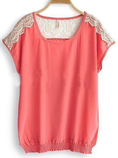 Red Round Neck Short Sleeve Hollow Lace Loose Chiffon Shirt
