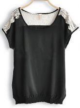 Black Round Neck Short Sleeve Hollow Lace Loose Chiffon Shirt