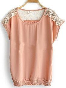 Pink Round Neck Short Sleeve Hollow Lace Loose Chiffon Shirt