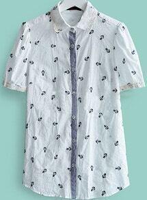 White Lapel Short Sleeve Anchor Print Single Breasted Shirt