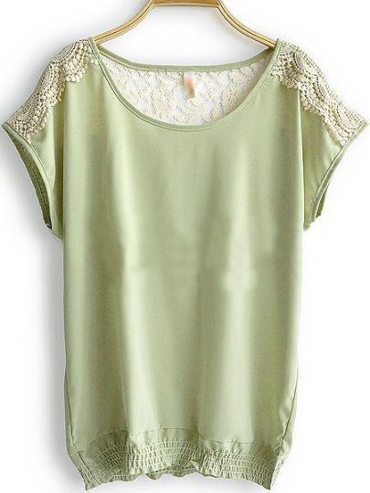 Green Round Neck Short Sleeve Hollow Lace Loose Chiffon Shirt