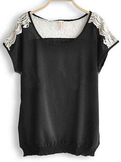 Black Round Neck Short Sleeve Hollow Lace Loose Chiffon Shirt