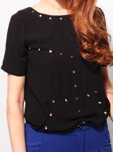 Black Round Neck Short Sleeve Rivet Asymmetrical Loose Chiffon Shirt