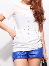 White Round Neck Short Sleeve Rivet Asymmetrical Loose Chiffon Shirt