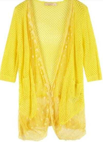 Yellow Acrylic Contrast Lace Hollow Short Sleeve Knitted Sweater