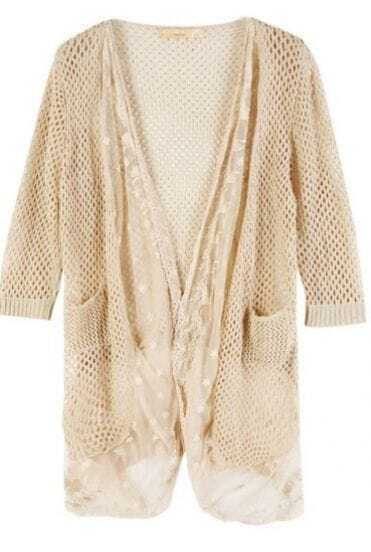 Apricot Acrylic Contrast Lace Trim Open Mesh Stitch Cardigan