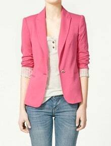 Rose Red Lapel Long Sleeve Single Button Blazer