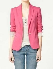 Rose Red Lapel Long Sleeve Single Button Blazer