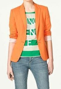 Orange Lapel Long Sleeve Single Button Blazer