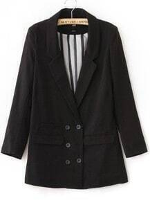 Black Notch Lapel Long Sleeve Striped Inside Military Blazer