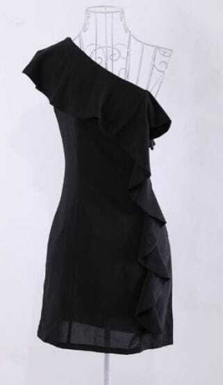 Black Ruffles One Shoulder and Front Short Dress