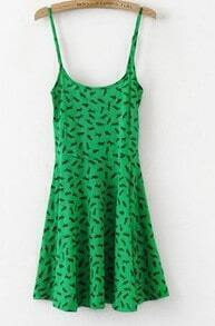 Green Cotton Leopard Print Spaghetti Strap Flare Dress