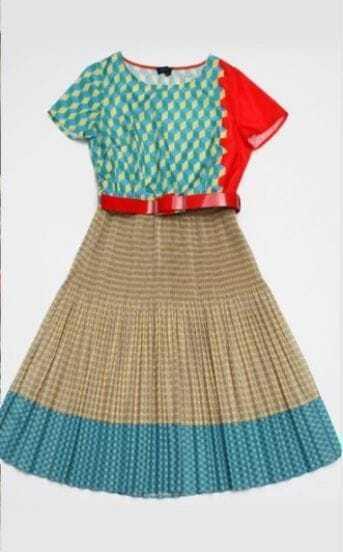 Color Block Geo Rhombus Print Belt Short Sleeve Dress
