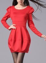 Red Petal Long Sleeve Long Sleeve Bandeau Bubble Dress