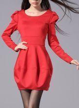 Red Petal Long Sleeve Long Sleeve Bandeau Bubble Dress