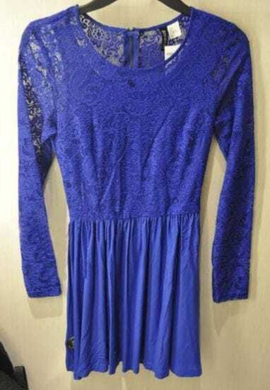 Blue Floral Lace Long Sleeve Zip Back Pleated Dress