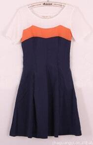 Orange Navy Short Sleeve Round Neck Contrast Panel Pleated Dress
