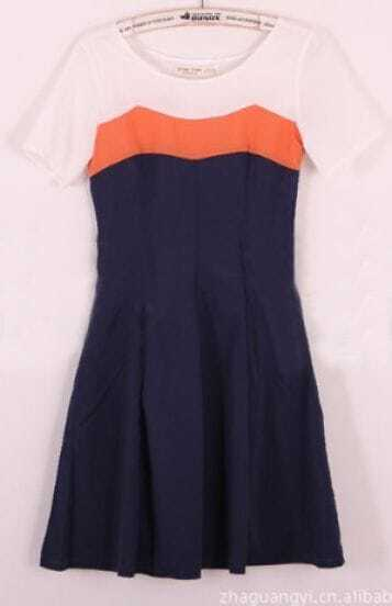 Orange Navy Short Sleeve Round Neck Contrast Panel Pleated Dress
