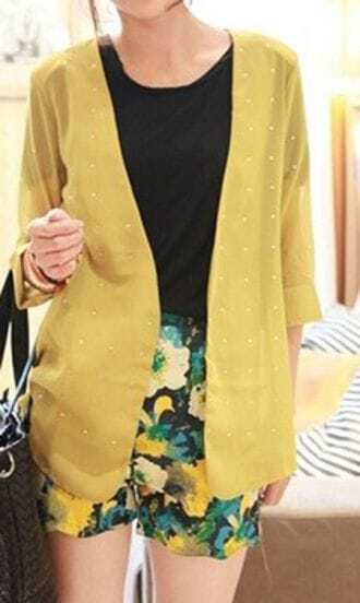 Yellow Rolled Three Quarter Length Sleeve Rhinestone Chiffon Cardigan