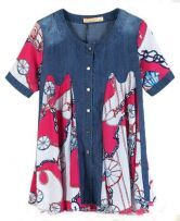 Rose Red Tribal Print Patched Denim Flare Shirt