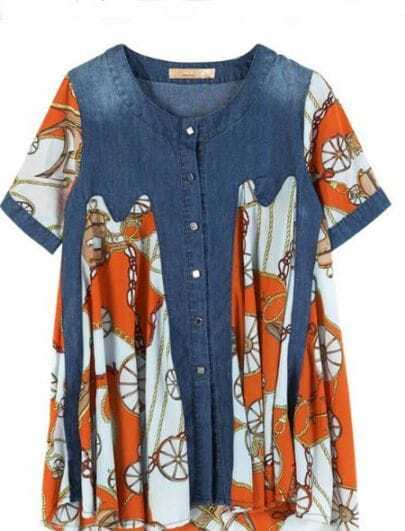 Orange Tribal Print Patched Denim Flare Shirt